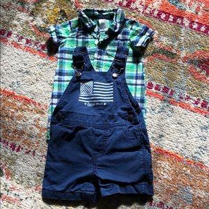 Baby boy shirt and Baby B'gosh overalls